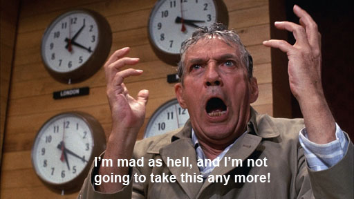 "Peter Finch as Howard Beale in ""Network,"" 1976"